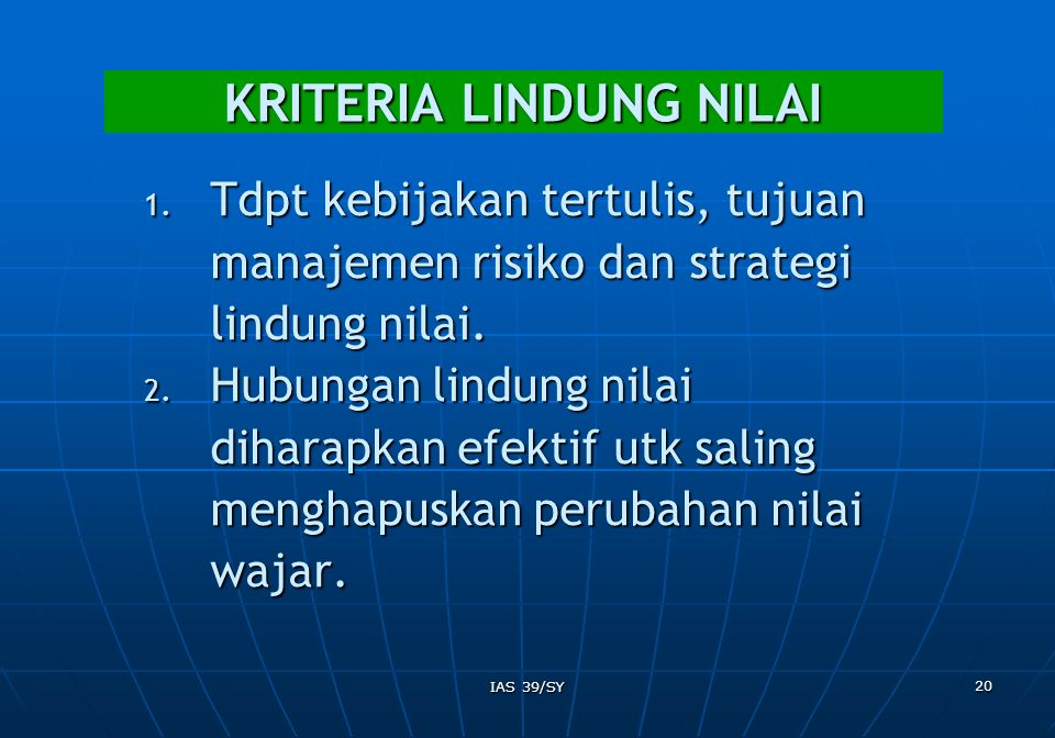 KRITERIA LINDUNG NILAI