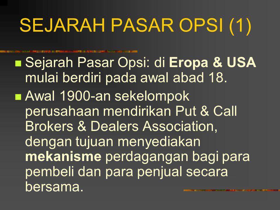 SEJARAH PASAR OPSI (1) Sejarah Pasar Opsi: di Eropa & USA mulai berdiri pada awal abad 18.