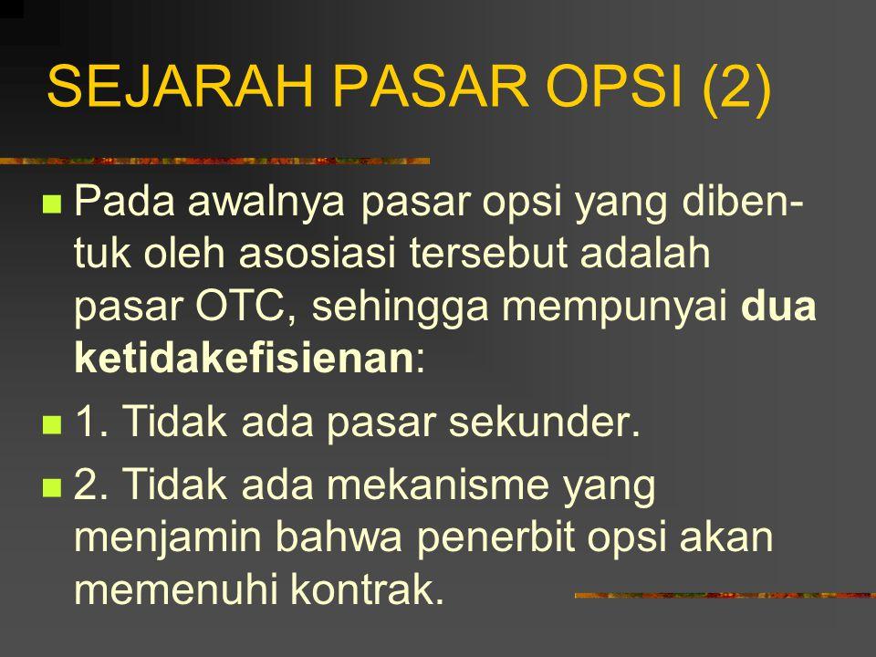 SEJARAH PASAR OPSI (2) Pada awalnya pasar opsi yang diben-tuk oleh asosiasi tersebut adalah pasar OTC, sehingga mempunyai dua ketidakefisienan:
