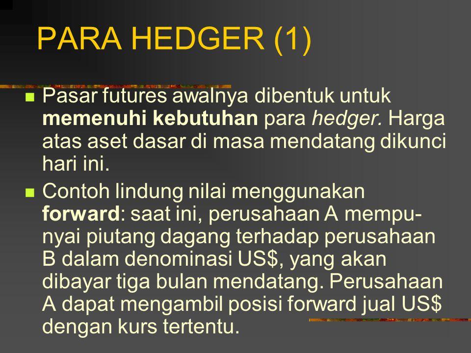 PARA HEDGER (1) Pasar futures awalnya dibentuk untuk memenuhi kebutuhan para hedger. Harga atas aset dasar di masa mendatang dikunci hari ini.