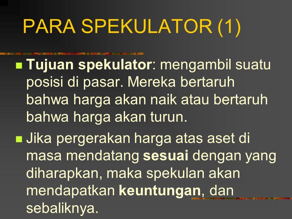 PARA SPEKULATOR (1) Tujuan spekulator: mengambil suatu posisi di pasar. Mereka bertaruh bahwa harga akan naik atau bertaruh bahwa harga akan turun.