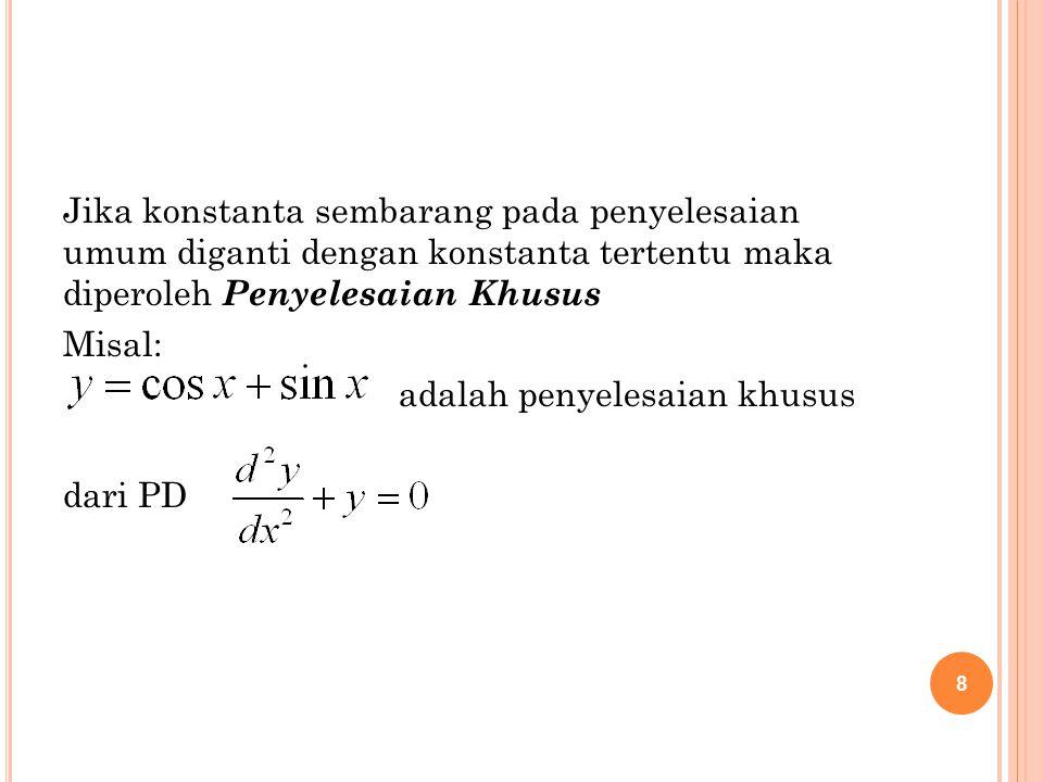 Jika konstanta sembarang pada penyelesaian umum diganti dengan konstanta tertentu maka diperoleh Penyelesaian Khusus