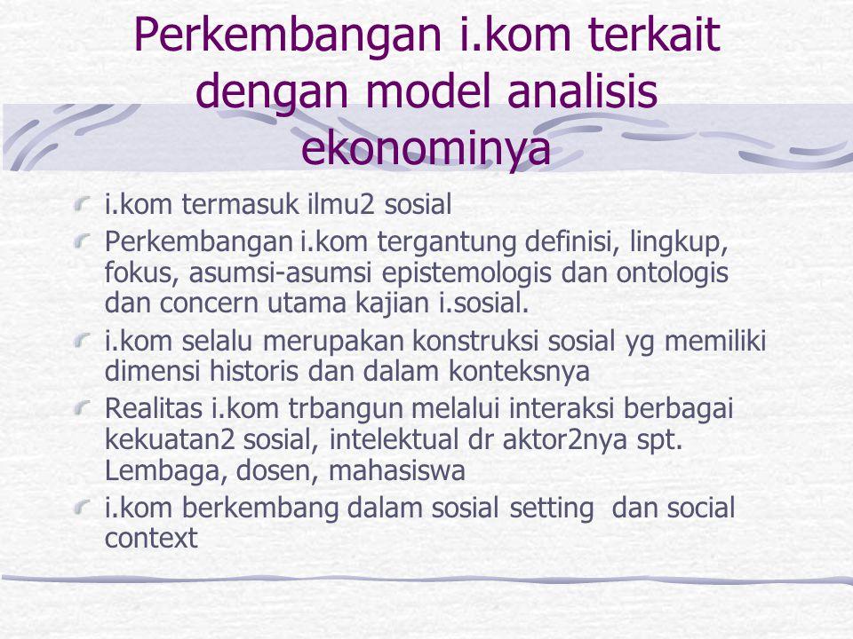 Perkembangan i.kom terkait dengan model analisis ekonominya