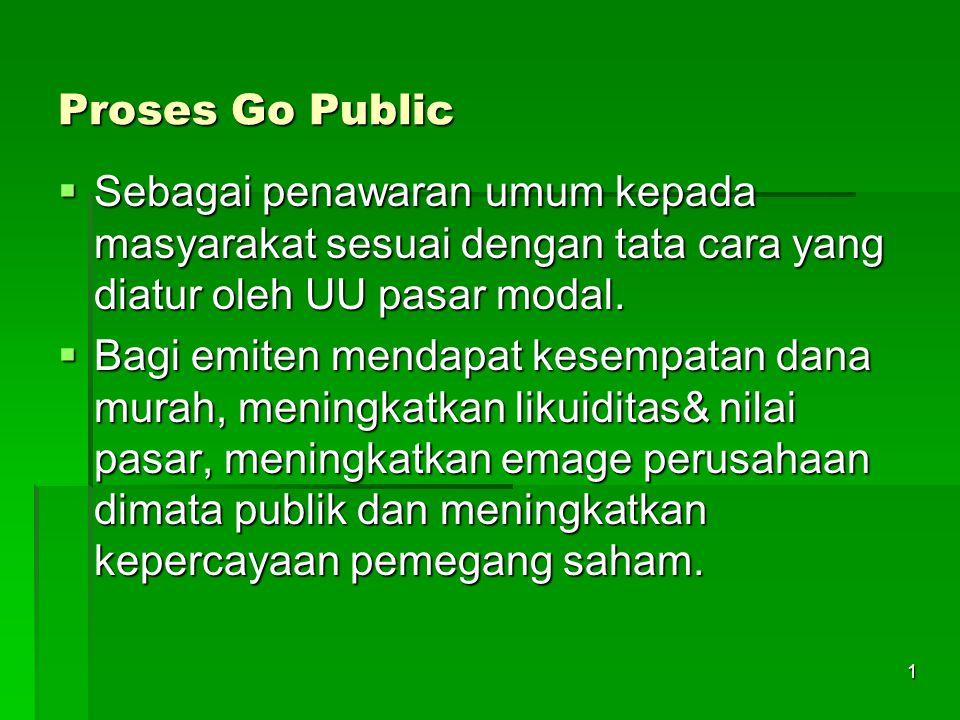 Proses Go Public Sebagai penawaran umum kepada masyarakat sesuai dengan tata cara yang diatur oleh UU pasar modal.