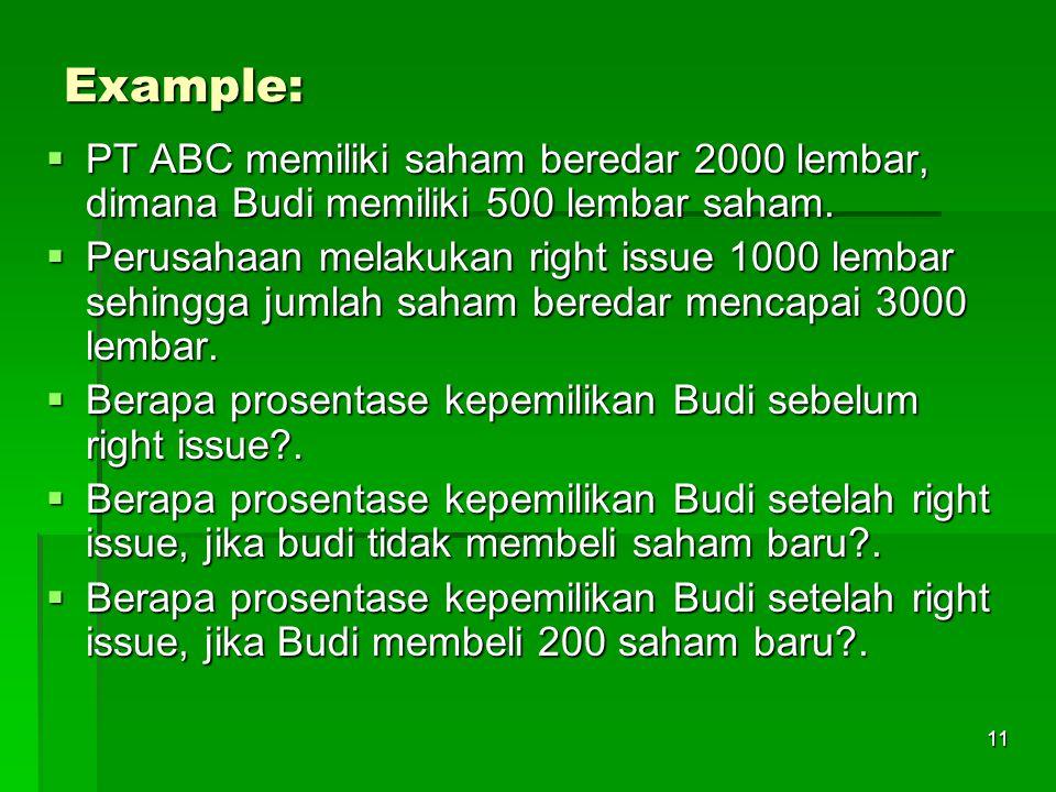 Example: PT ABC memiliki saham beredar 2000 lembar, dimana Budi memiliki 500 lembar saham.