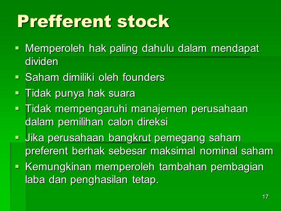Prefferent stock Memperoleh hak paling dahulu dalam mendapat dividen