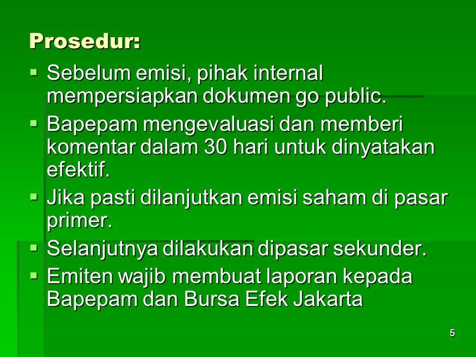 Prosedur: Sebelum emisi, pihak internal mempersiapkan dokumen go public.
