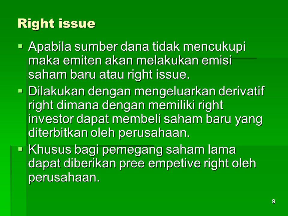 Right issue Apabila sumber dana tidak mencukupi maka emiten akan melakukan emisi saham baru atau right issue.