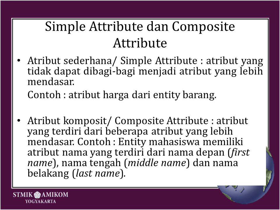 Simple Attribute dan Composite Attribute