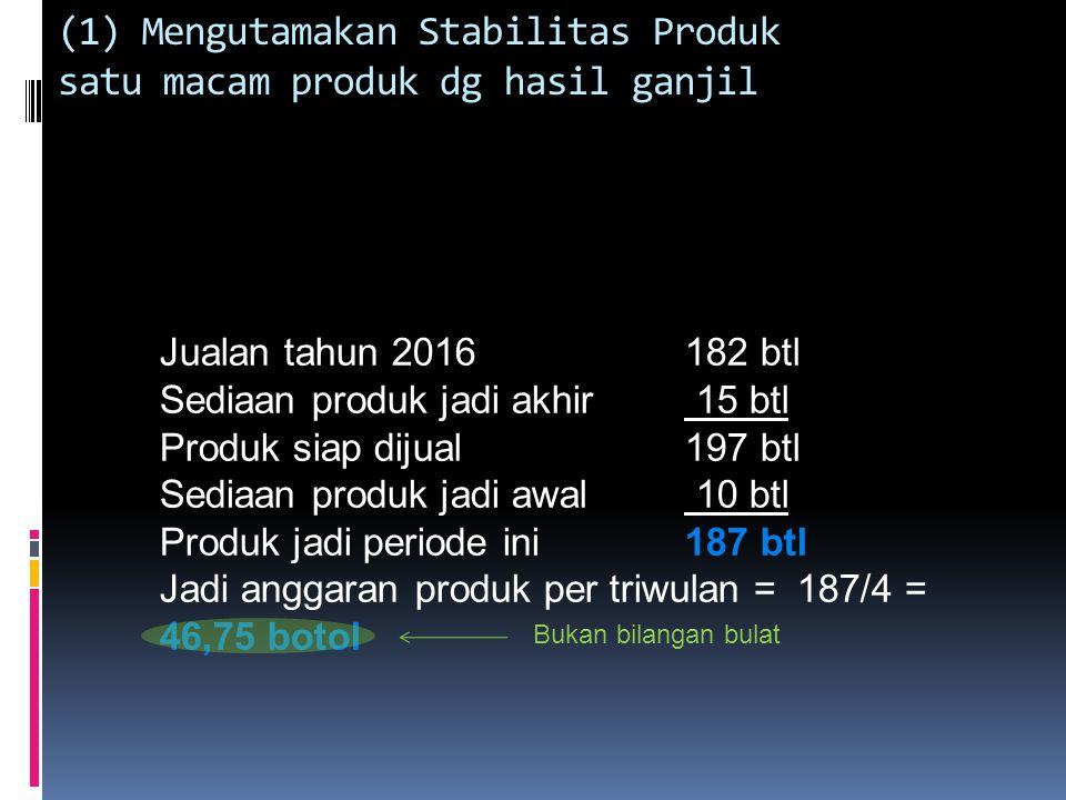 (1) Mengutamakan Stabilitas Produk satu macam produk dg hasil ganjil