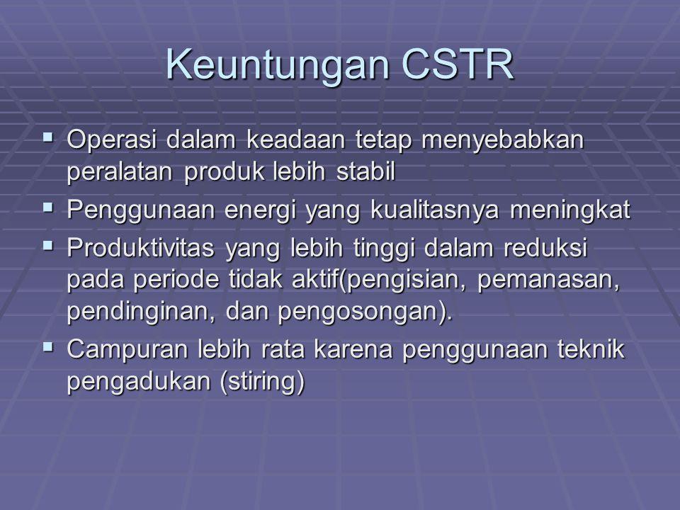 Keuntungan CSTR Operasi dalam keadaan tetap menyebabkan peralatan produk lebih stabil. Penggunaan energi yang kualitasnya meningkat.
