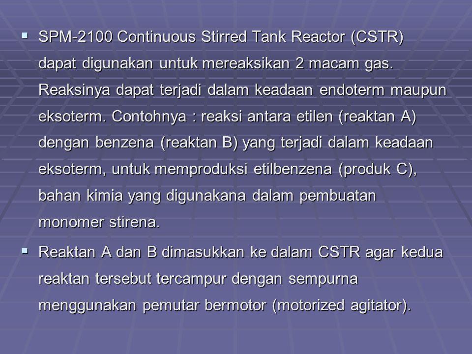 SPM-2100 Continuous Stirred Tank Reactor (CSTR) dapat digunakan untuk mereaksikan 2 macam gas. Reaksinya dapat terjadi dalam keadaan endoterm maupun eksoterm. Contohnya : reaksi antara etilen (reaktan A) dengan benzena (reaktan B) yang terjadi dalam keadaan eksoterm, untuk memproduksi etilbenzena (produk C), bahan kimia yang digunakana dalam pembuatan monomer stirena.