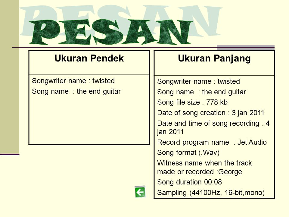 PESAN Ukuran Panjang Ukuran Pendek Songwriter name : twisted