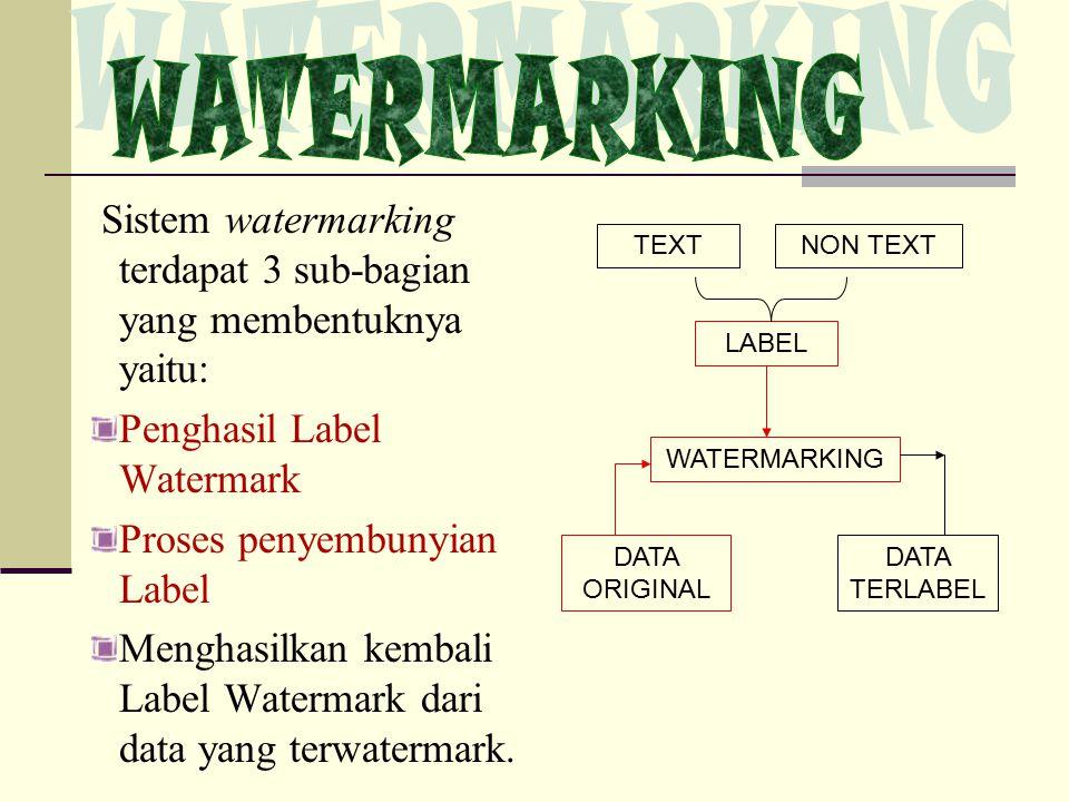 WATERMARKING Sistem watermarking terdapat 3 sub-bagian yang membentuknya yaitu: Penghasil Label Watermark.
