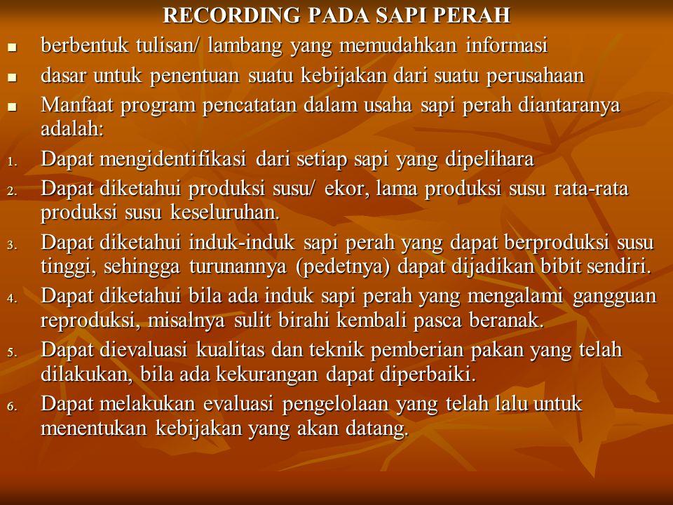 RECORDING PADA SAPI PERAH
