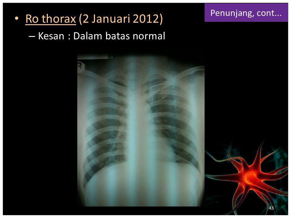 Ro thorax (2 Januari 2012) Kesan : Dalam batas normal