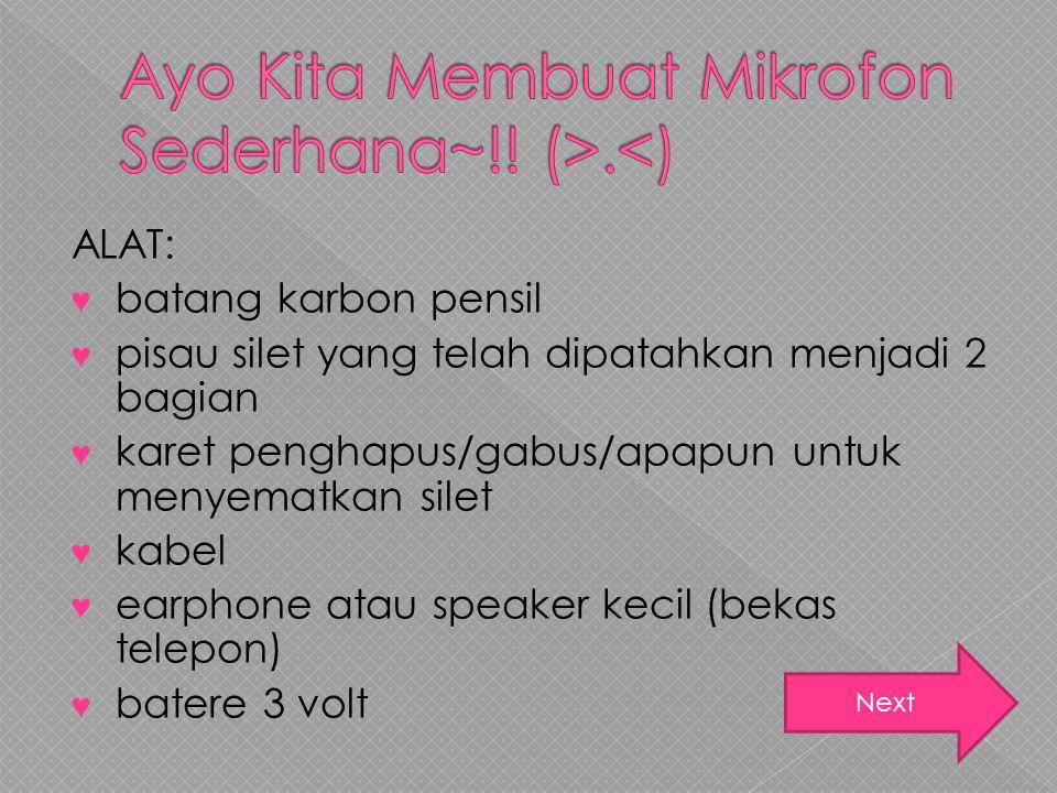 Ayo Kita Membuat Mikrofon Sederhana~!! (>.<)