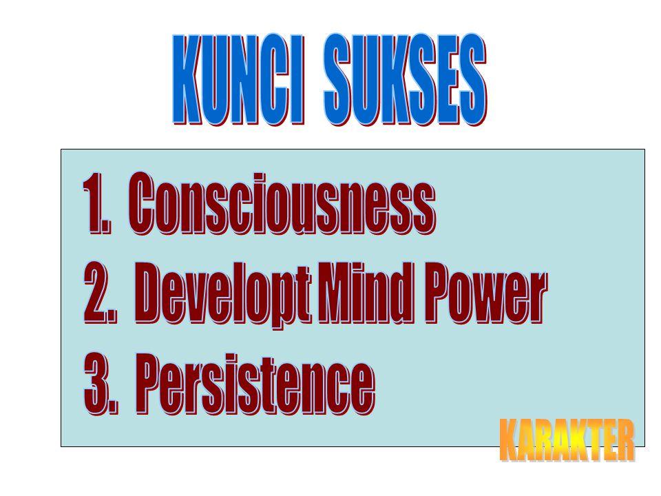 KUNCI SUKSES 1. Consciousness 2. Developt Mind Power 3. Persistence KARAKTER