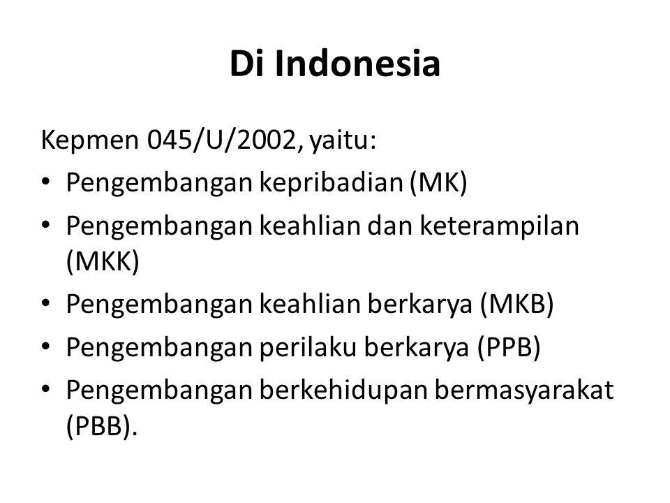 Di Indonesia Kepmen 045/U/2002, yaitu: Pengembangan kepribadian (MK)