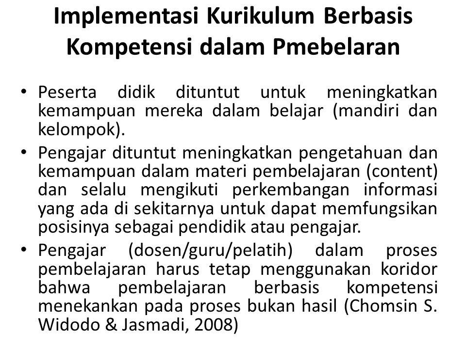 Implementasi Kurikulum Berbasis Kompetensi dalam Pmebelaran