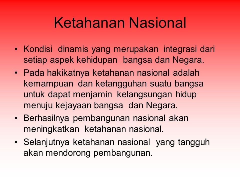Ketahanan Nasional Kondisi dinamis yang merupakan integrasi dari setiap aspek kehidupan bangsa dan Negara.