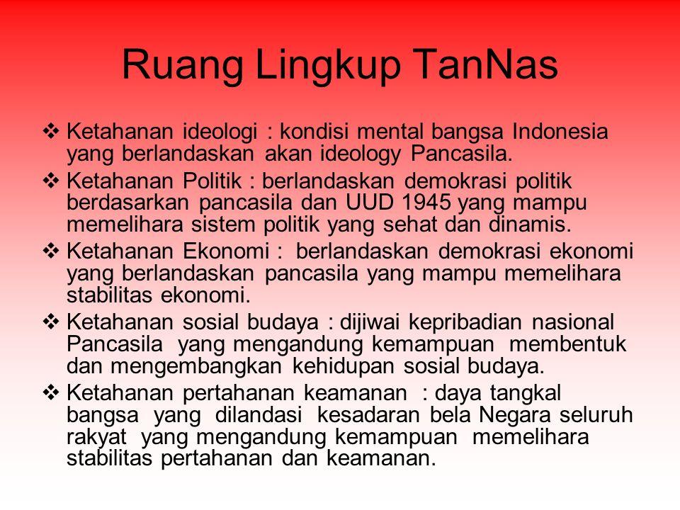 Ruang Lingkup TanNas Ketahanan ideologi : kondisi mental bangsa Indonesia yang berlandaskan akan ideology Pancasila.