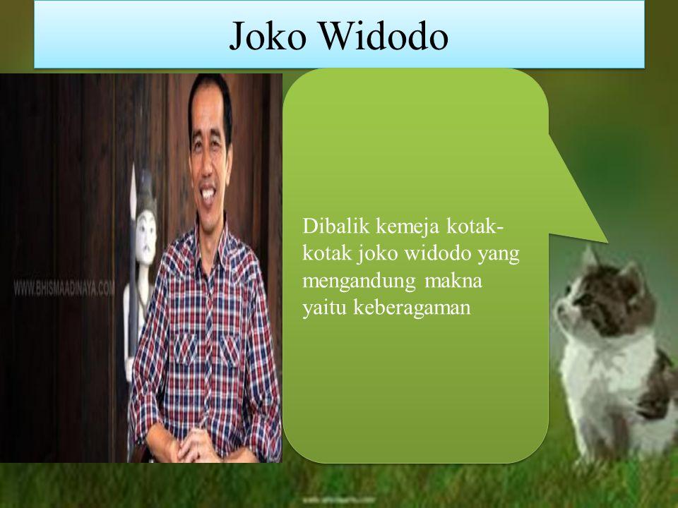 Joko Widodo Dibalik kemeja kotak-kotak joko widodo yang mengandung makna yaitu keberagaman