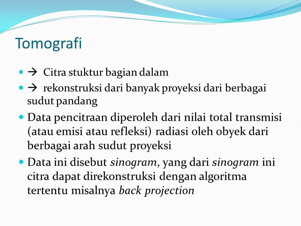 Tomografi  Citra stuktur bagian dalam.  rekonstruksi dari banyak proyeksi dari berbagai sudut pandang.