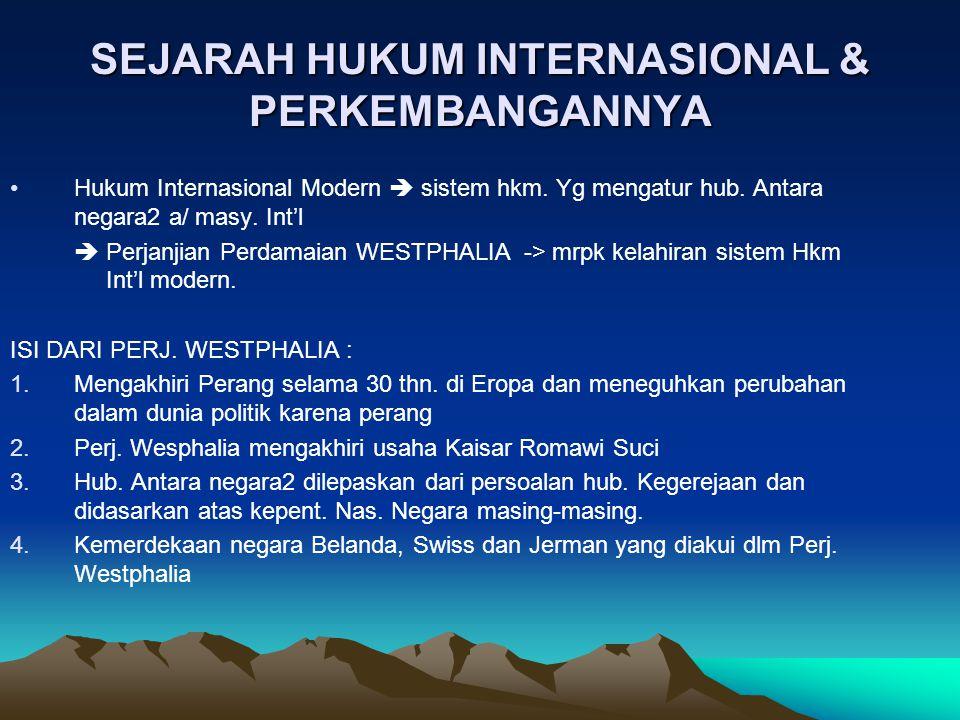 SEJARAH HUKUM INTERNASIONAL & PERKEMBANGANNYA
