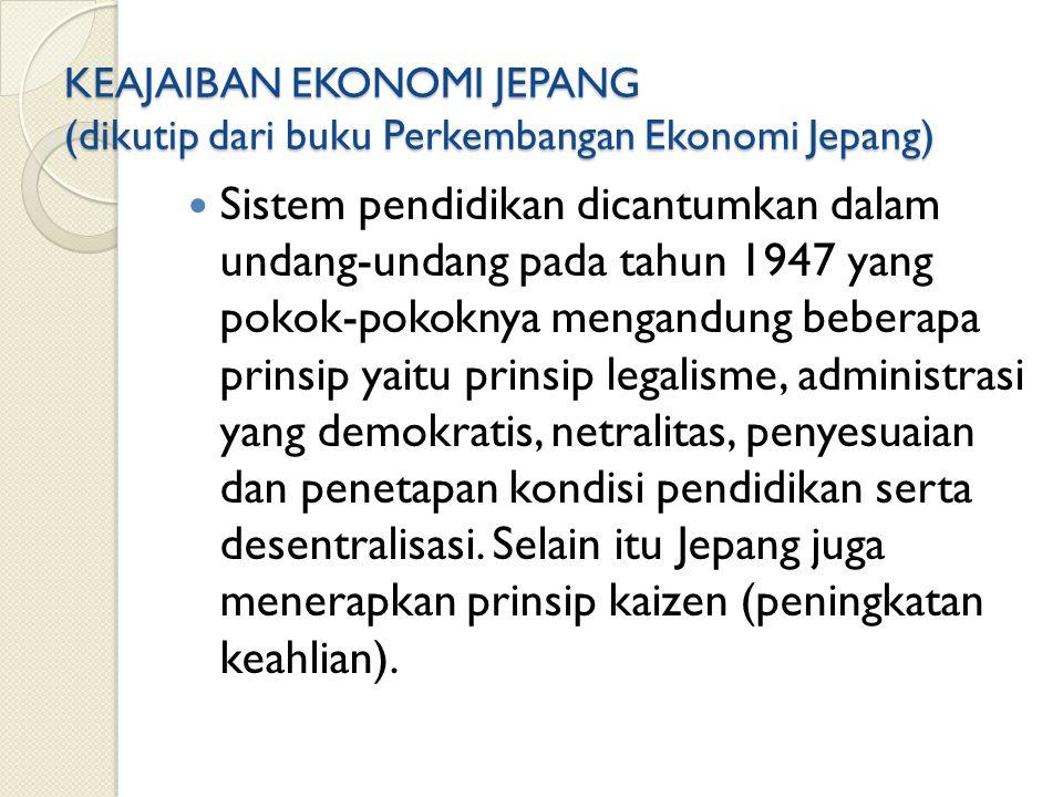 KEAJAIBAN EKONOMI JEPANG (dikutip dari buku Perkembangan Ekonomi Jepang)
