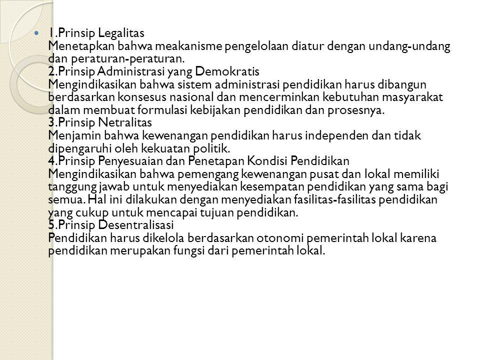 1.Prinsip Legalitas Menetapkan bahwa meakanisme pengelolaan diatur dengan undang-undang dan peraturan-peraturan.