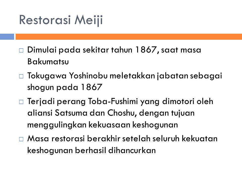 Restorasi Meiji Dimulai pada sekitar tahun 1867, saat masa Bakumatsu
