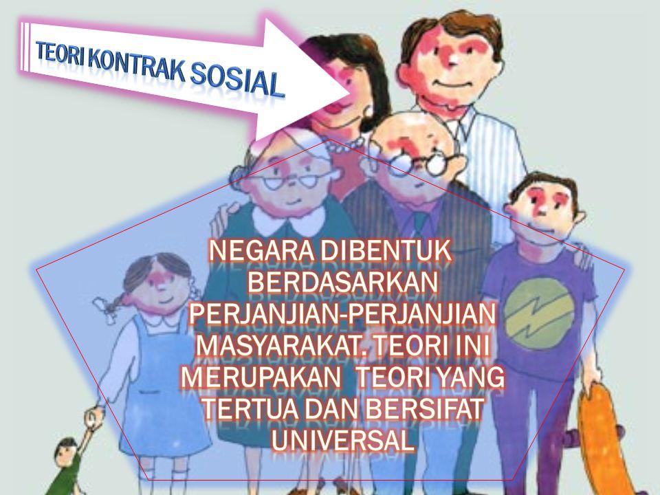 TEORI KONTRAK SOSIAL Negara dibentuk berdasarkan perjanjian-perjanjian masyarakat.