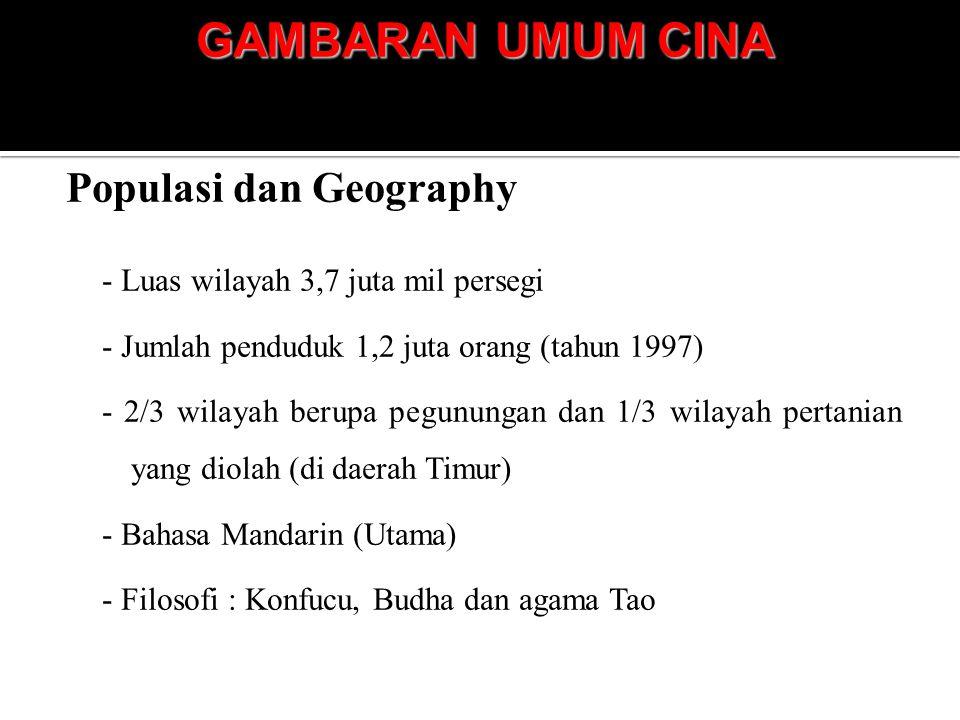 GAMBARAN UMUM CINA Populasi dan Geography