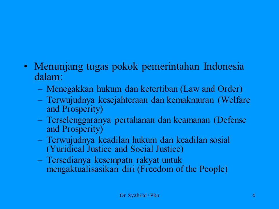 Menunjang tugas pokok pemerintahan Indonesia dalam: