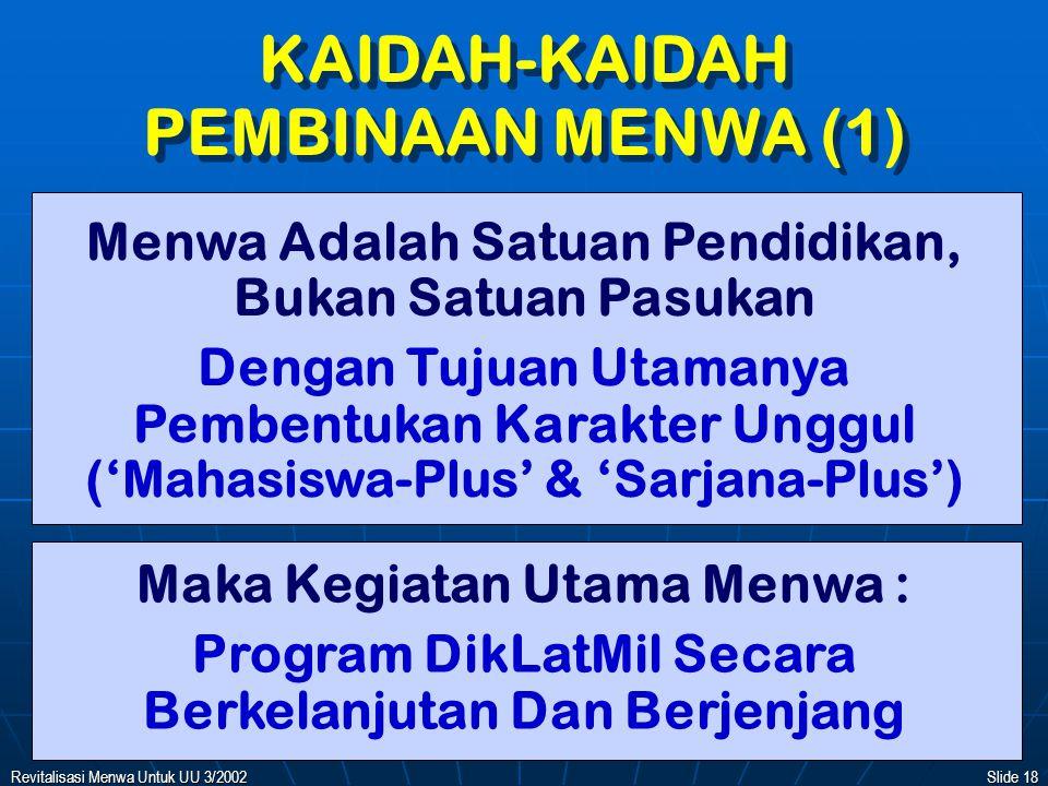KAIDAH-KAIDAH PEMBINAAN MENWA (1)