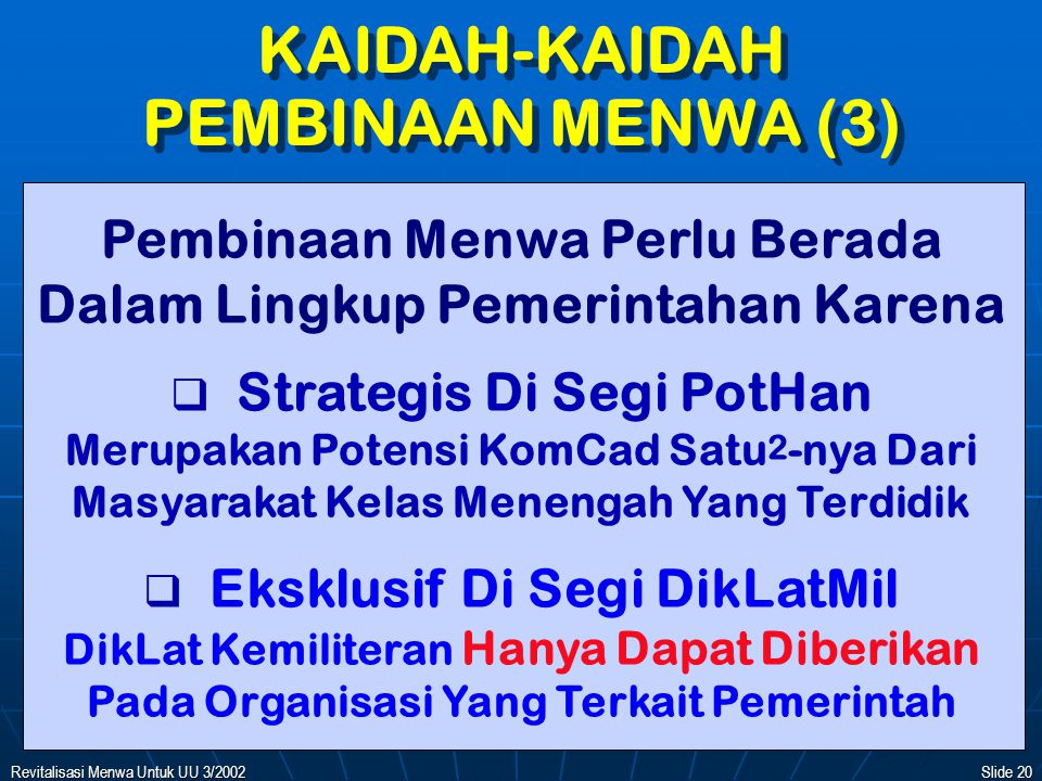 KAIDAH-KAIDAH PEMBINAAN MENWA (3)