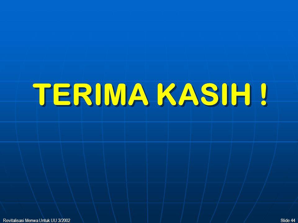 TERIMA KASIH ! 10/04/2017 Revitalisasi Menwa Untuk UU 3/2002
