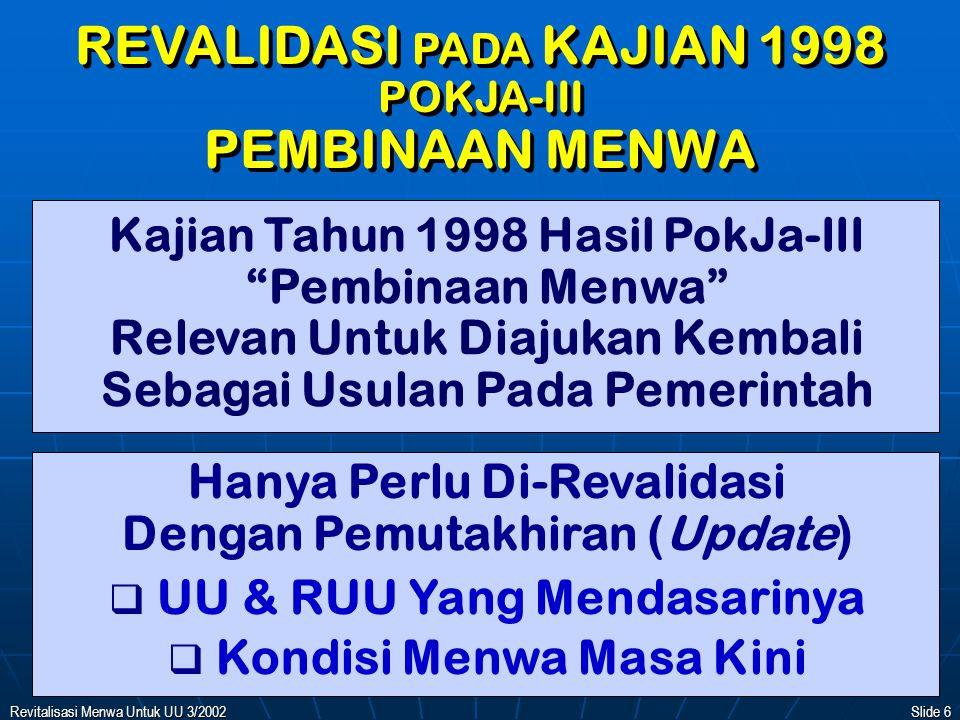 REVALIDASI PADA KAJIAN 1998