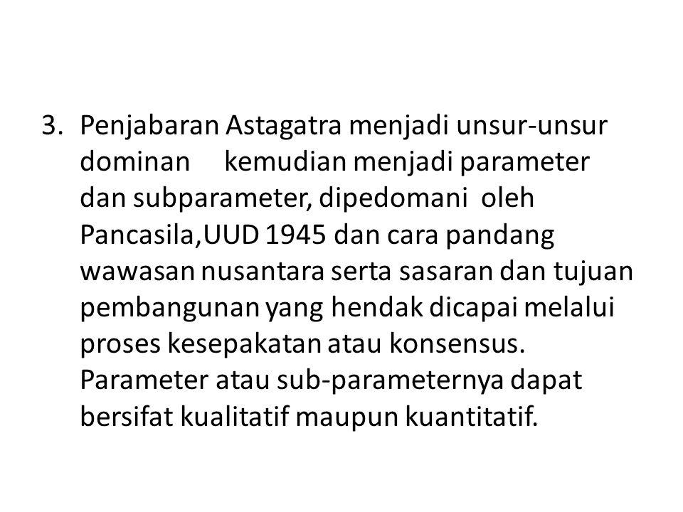 Penjabaran Astagatra menjadi unsur-unsur dominan kemudian menjadi parameter dan subparameter, dipedomani oleh Pancasila,UUD 1945 dan cara pandang wawasan nusantara serta sasaran dan tujuan pembangunan yang hendak dicapai melalui proses kesepakatan atau konsensus.