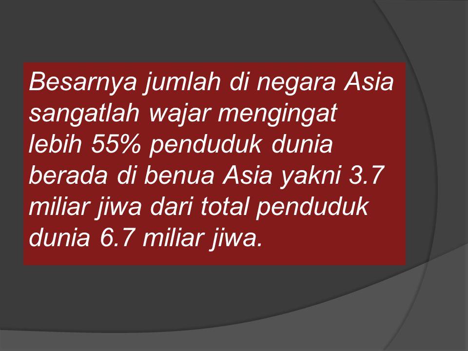 Besarnya jumlah di negara Asia sangatlah wajar mengingat lebih 55% penduduk dunia berada di benua Asia yakni 3.7 miliar jiwa dari total penduduk dunia 6.7 miliar jiwa.