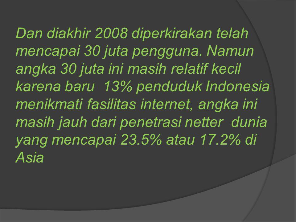 Dan diakhir 2008 diperkirakan telah mencapai 30 juta pengguna