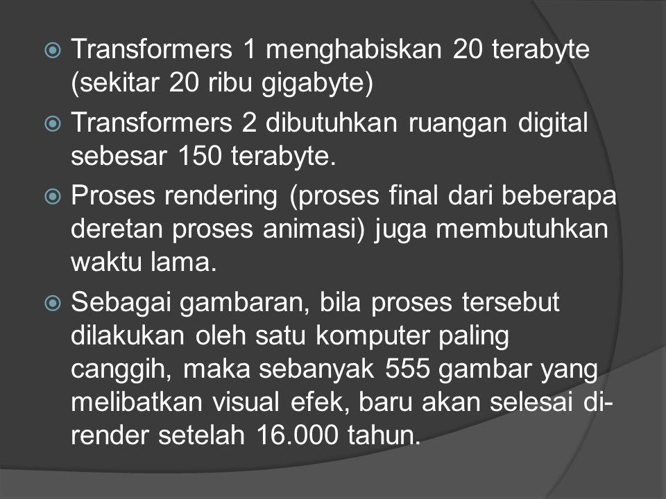 Transformers 1 menghabiskan 20 terabyte (sekitar 20 ribu gigabyte)