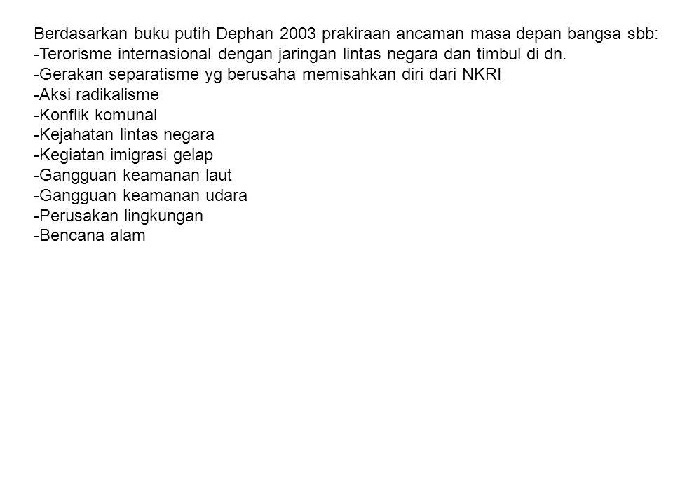 Berdasarkan buku putih Dephan 2003 prakiraan ancaman masa depan bangsa sbb: