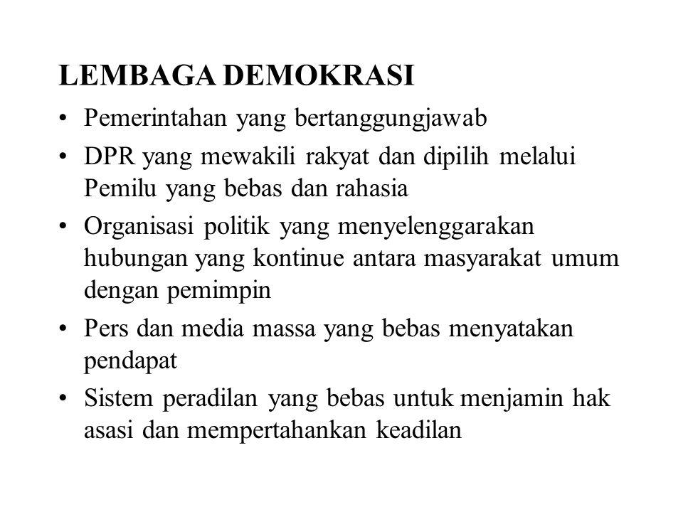 LEMBAGA DEMOKRASI Pemerintahan yang bertanggungjawab