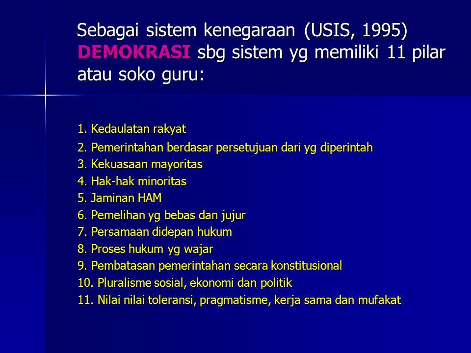 Sebagai sistem kenegaraan (USIS, 1995) DEMOKRASI sbg sistem yg memiliki 11 pilar atau soko guru: