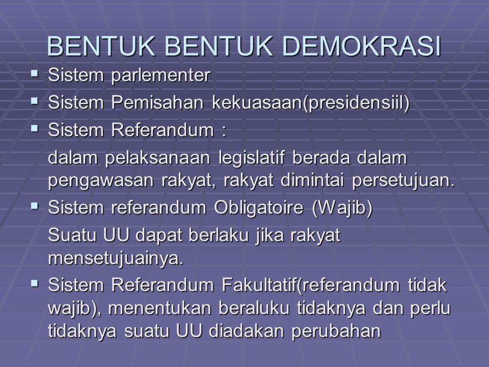 BENTUK BENTUK DEMOKRASI