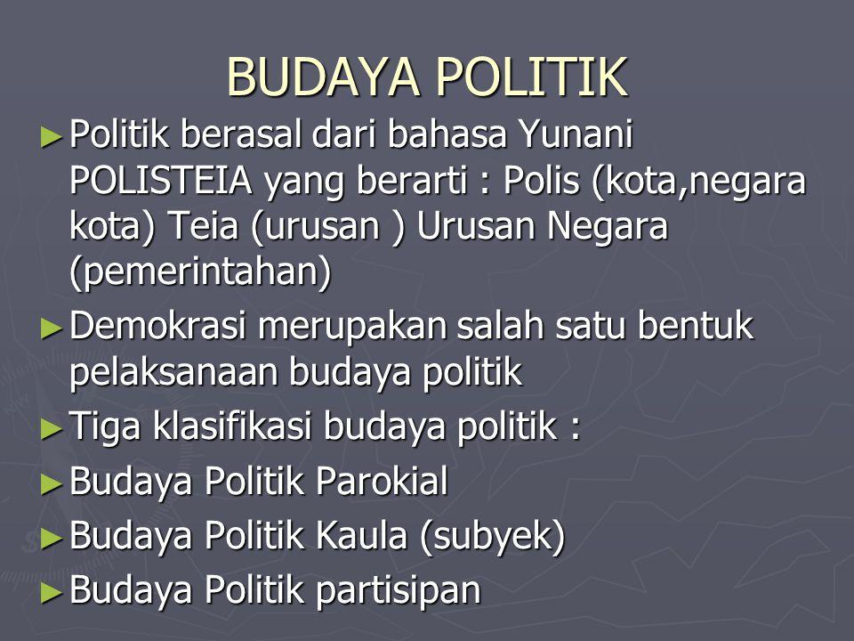 BUDAYA POLITIK Politik berasal dari bahasa Yunani POLISTEIA yang berarti : Polis (kota,negara kota) Teia (urusan ) Urusan Negara (pemerintahan)