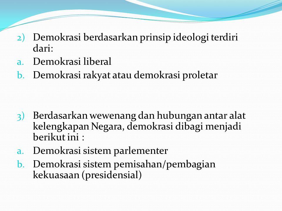 Demokrasi berdasarkan prinsip ideologi terdiri dari: