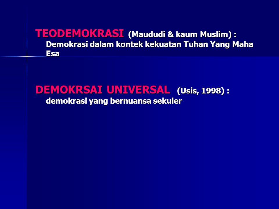 TEODEMOKRASI (Maududi & kaum Muslim) : Demokrasi dalam kontek kekuatan Tuhan Yang Maha Esa